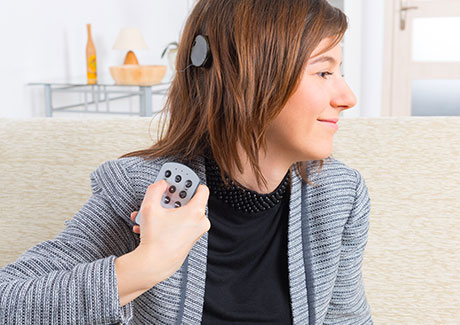 Young woman with cochlear implant