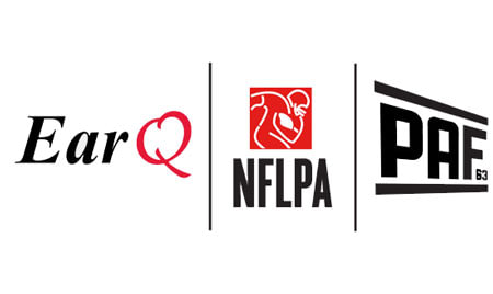 Earq, NFLPA, and PAF logos