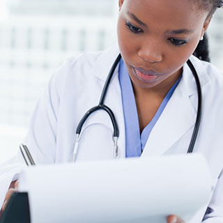 Physician reading